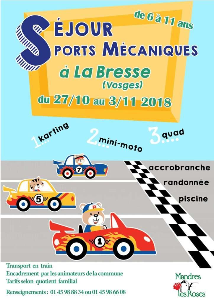 Séjour sports mécaniques à La Bresse pour les 6-11 ans du 27 octobre au 3 novembre